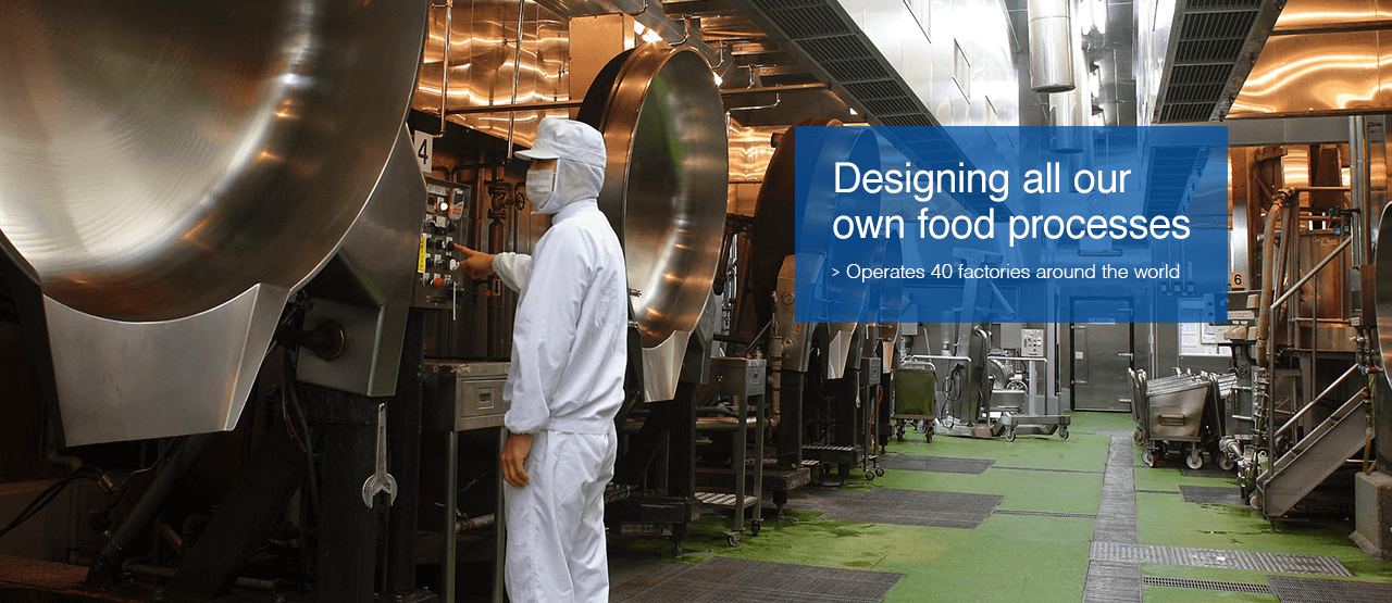 Designing all our own food processes : Operates 39 factories* around the world * As of October 31, 2015