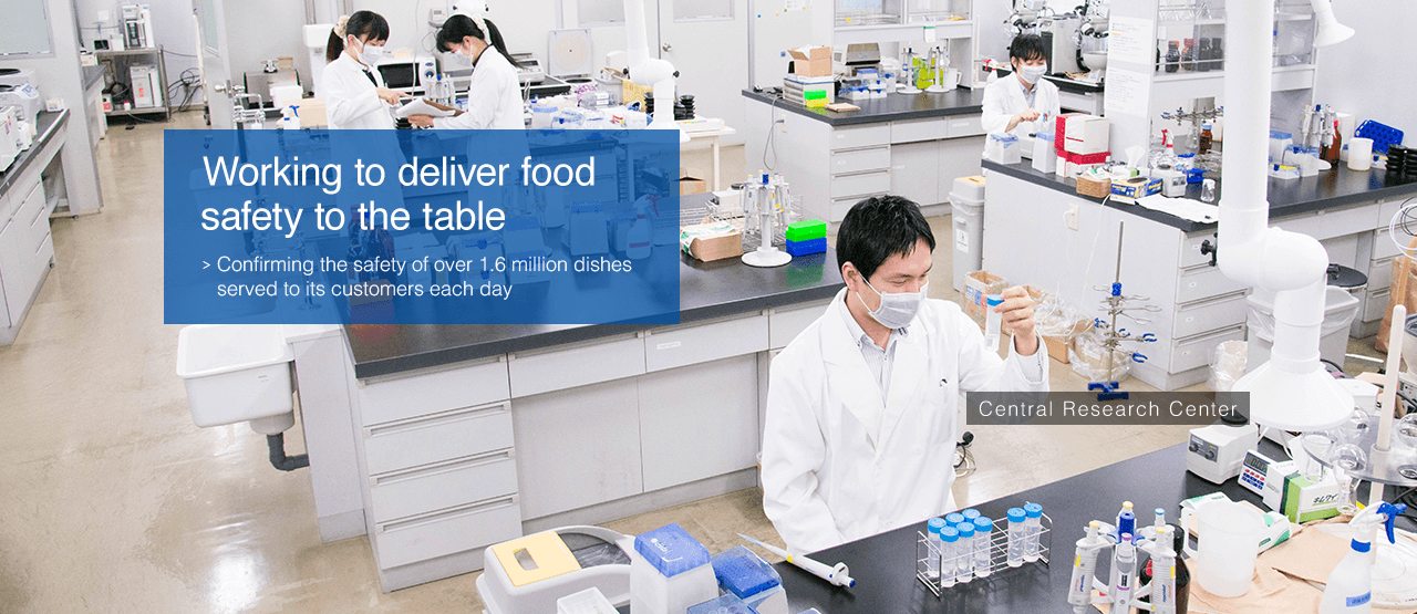 Working to deliver food safety to the table : Confirming the safety of over 1.6 million dishes served to its customers each day